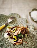 Fried quail's breast with onion mousse, aubergine purée and quince vinaigrette