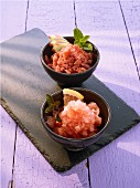 Campari and grapefruit granita, and rhubarb granita