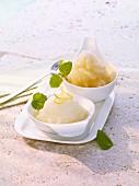 Green tea sorbet and lemon sorbet