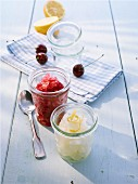 Lemon granita and cherry granita with coconut liqueur