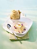 Nut ice cream and lavender ice cream