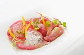 Golden mackerel marinated in beetroot juice