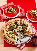 Indian lamb and paneer pizza