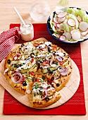Greek garlic zucchini pizza