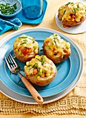 Smoked cod and corn baked potato