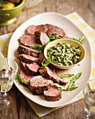 Grilled beef fillet with an almond and mint sauce