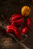 Fresh red and yellow chilli peppers