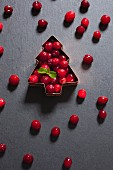 Fresh cranberries in a Christmas tree-shaped cutter