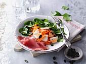 Fruity purslane salad with ham