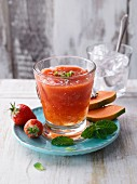 Strawberry and mint smoothie with papaya