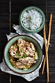 Chinese chicken soup with five spices, chilli and spring onions