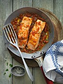 Salmon in a spicy tomato sauce