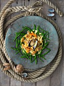 Mussel salad with samphire