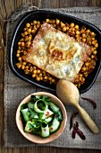 Moroccan chickpea bake with a spicy cucumber salad