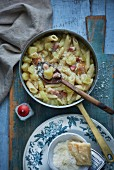 Pasta with potatoes, celery and ham