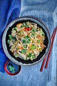 Noodles with crab meat and stri-fried vegetables