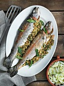 Trout with a breadcrumb and herb filling and a fennel salad