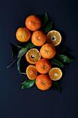 Mandarinen und Mandarinenblätter auf blauem Untergrund