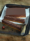 Homemade chocolate bars on a baking tray