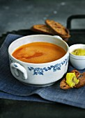 Cream of fish soup with wasabi and bread