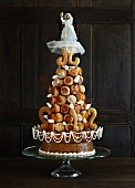 A croquembouche wedding cake