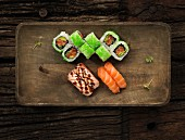 Various sushi with salmon