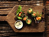 Spring rolls with salmon and avocado