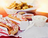 Lobster sandwiches in paper sleeves (USA)