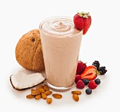A berry smoothie with coconut and almonds