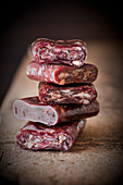 A stack of beef salami chunks