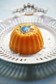 Pumpkin pudding with blue sugar sprinkles