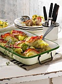 Cabbage roulade with rashers of bacon