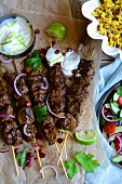 Lamb skewers with a yoghurt dip