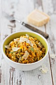 Quinoa risotto with pumpkin, orange and Parmesan cheese