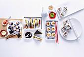 Mini Cucumber and Ginger Rolls, Crab Sushi Sandwiches, Chilli Tuna Rolls, California Rolls, Basic Sushi Rice