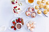 Raspberry Floating Islands, Chocolate Dip with Strawberries, Spiced Rhubarb Friands, Passionfruit Meringue Tarts, Citrus Kisses