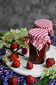 Jars of strawberry and elderflower jam