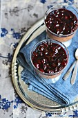 Chocolate tapioca pudding with cherries