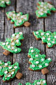 Gingerbread Christmas tree biscuits with green icing
