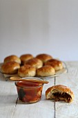 Tomato soup with bread rolls