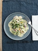 Potato gnocchi with stinging nettle sauce