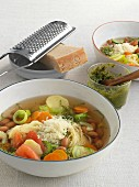 Minestrone with angel's hair pasta