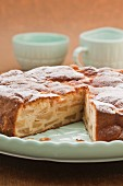 French apple cake, sliced