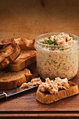 Grilled bread with salmon rillette