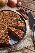 Millet and apple cake, sliced
