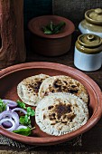 Cauliflower paratha (unleavened bread) from India
