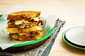 Mushroom, salami and cheese pan toasties