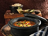 Vegetarian bean soup with black-eyed beans and vegetables