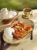 Spelt apple tray bake cake with cream