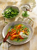 Carrot medley with chickweeds and herb quark